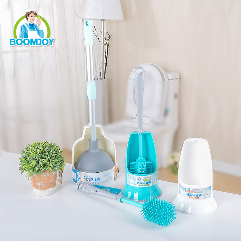 BOOMJOY FSR00210 Nano TPR soft material toilet brush/ ECO plastic double sided curved toilet bowl brush set with base holder