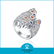 New colorful stone 925 silver ring