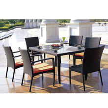 DH896 PE rattan outdoor 1 table 6 chairs with top glass dining table garden furniture set