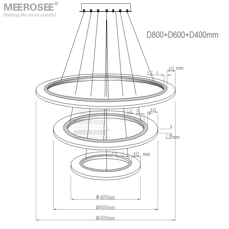 MEEROSEE 3 Rings Contemporary Pendant Lights LED Lamp Pendant Light Fittings 3 Years Warranty MD5057-3R