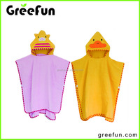 High quality factory supply 100% cotton kids hooded towel hooded baby towel