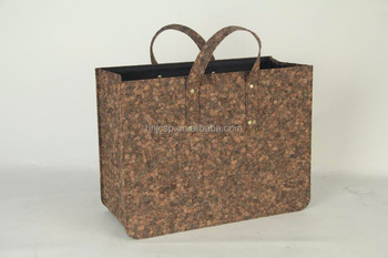 Cork Leather folding shopping laundry basket with handles
