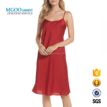 Custom Red Dress Night Wear Womens Satin Pajamas Sexy Nighty Sex Sleepwear