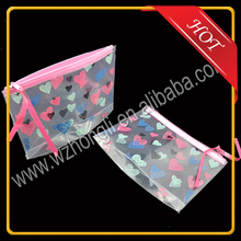 Clear Recycled Plastic PVC cosmetic Bag with slide zipper