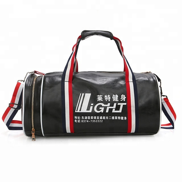Unisex luggage travel PU leather brown duffel bags gym custom sports bag