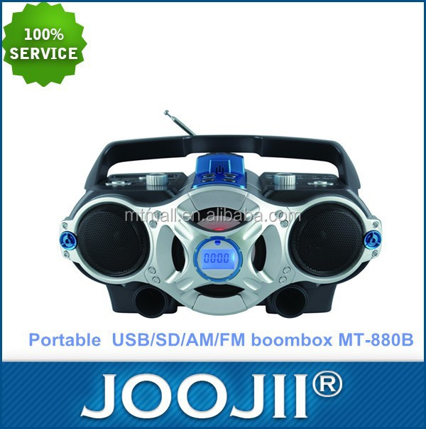 Portable Digital USB/SD/FM/AM Boombox Radio with rechargeable battery