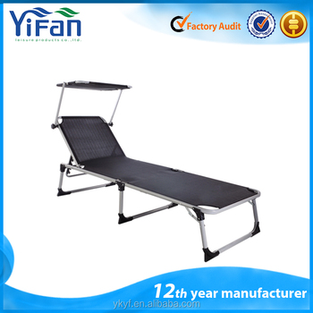 Aluminum Foldable Lounge Beach Bed with sun shade