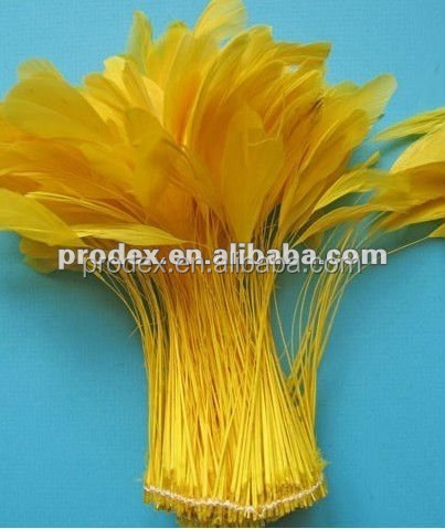 Stripped yellow Coque Tails Fringe Decorative dyed rooster feather