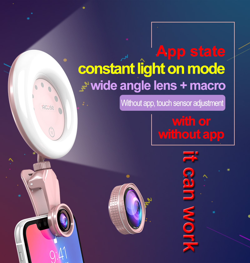 Touch sensor fill in light beauty face led selfie flash light with RKlight APP control