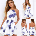 Women Sexy Backless Spaghetti Strap Floral Print Short Mini Casual Dress
