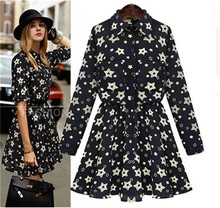 HFR-AN199 Europe 2015 spring long sleeve one-piece floral dress designs fat ladies