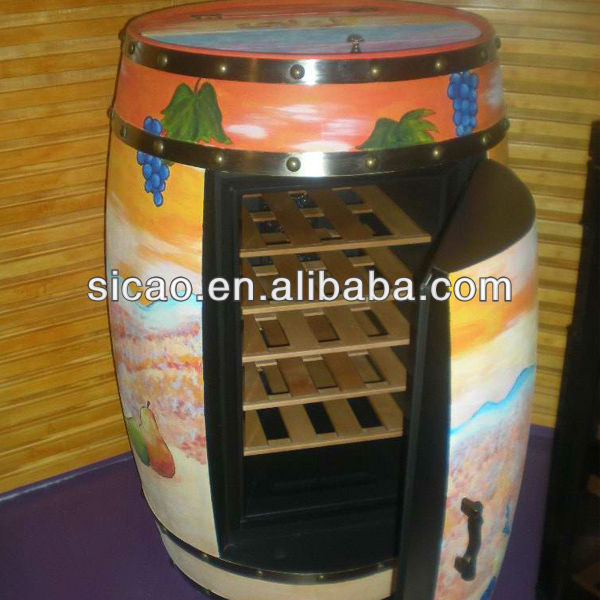 High Quality Full Painted Handmade Furniture Wooden Artware Classical Wine Barrel Color Unique Refrigerated Furniture