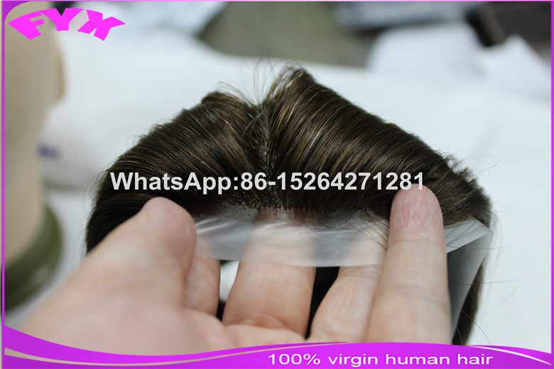 Mens custom toupee gray hair injection knoting super thin skin toupee wholesale
