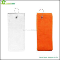 100% Cotton Golf Towel with Metal or Plastic Clip plain mini golf towels sport towel grommet