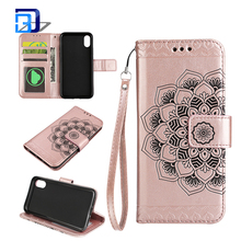 PU Leather Embossed Mandala Florals TPU Cover Magnetic Wallet Card Slots Wrist Strap Mobile Phone Case for iPhone X