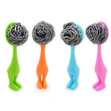 Fashion Long Plastic Handle Stainless Steel Scourer Pad