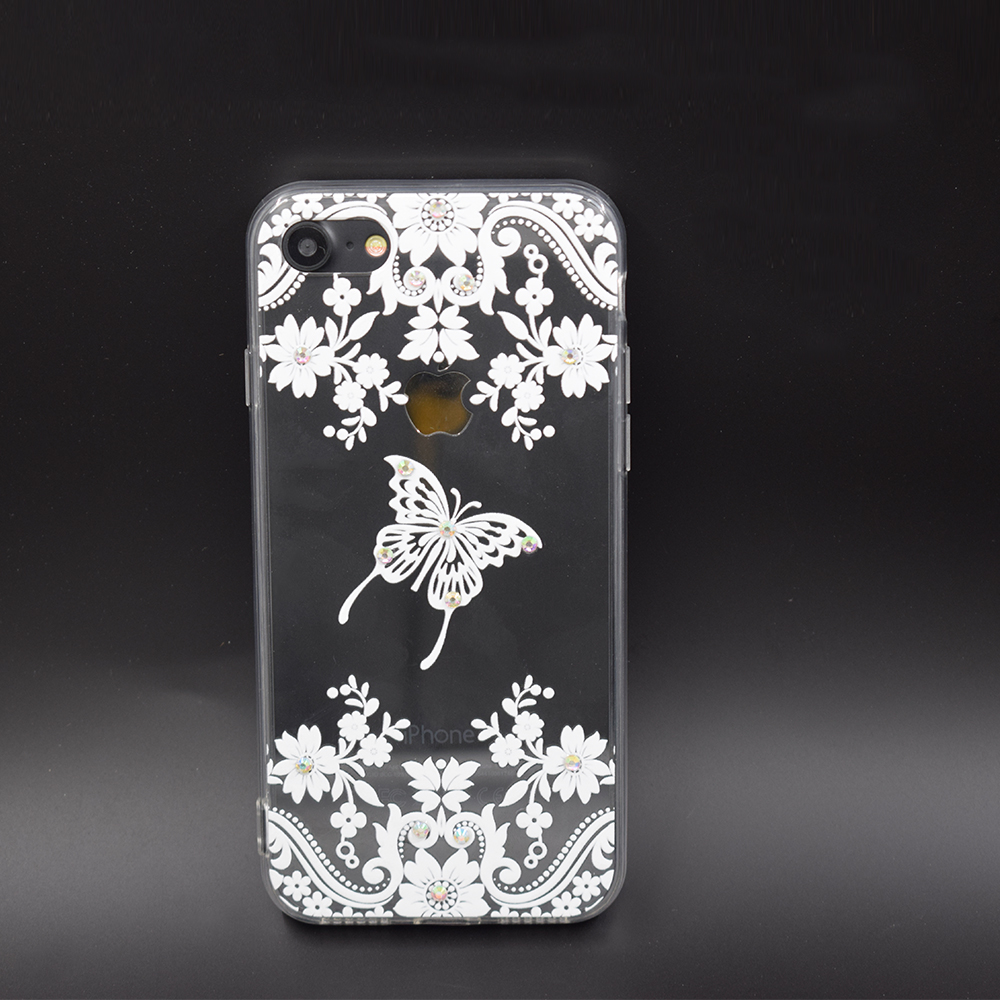 Custom flowers TPU+PC Transparent diamond case for iPhone 6s plus mobile phone accessories wholesale printing case