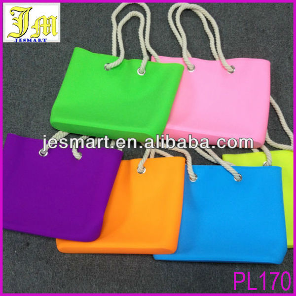 New Fashion Silicone Beach Bag Candy Color Summer Shoulder Jelly HandBag Shopping Bag With Rope Handle