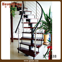 home living room steel wood stairs for interior decoration