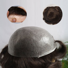 6inch Indian Virgin Human Hair pieces 0.03mm Super Thin Skin men toupee