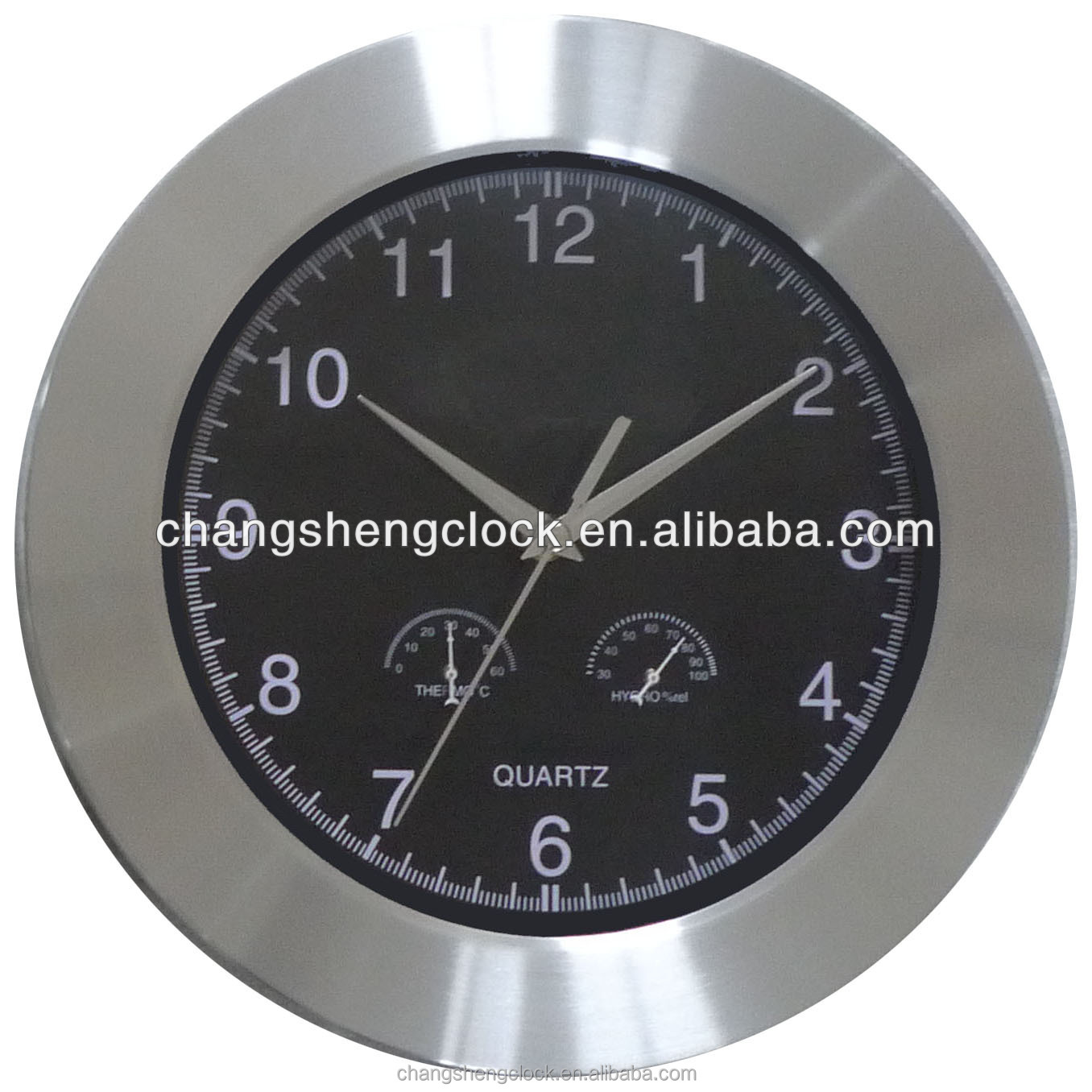 "12"" temperature and humidity metal wall clock /cheap price clock"