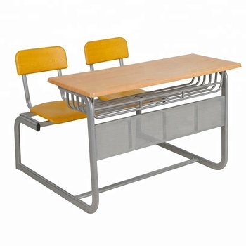 Top quality wood school study table desk with attached chair