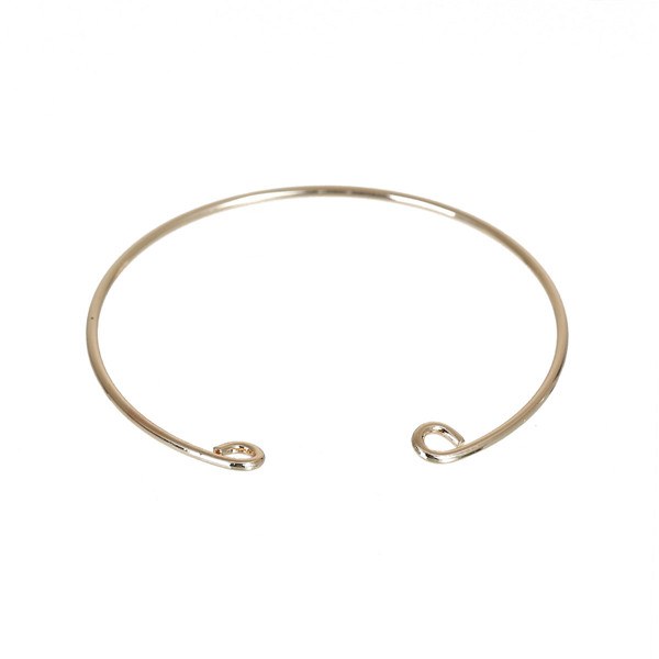 Custom Round Gold Plated Copper Charm Open Cuff Bangles Bracelets