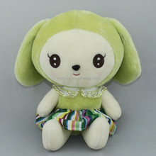 Wholesale cartoon dark green hair girl doll/High quality export stuffed toy/Plush toy