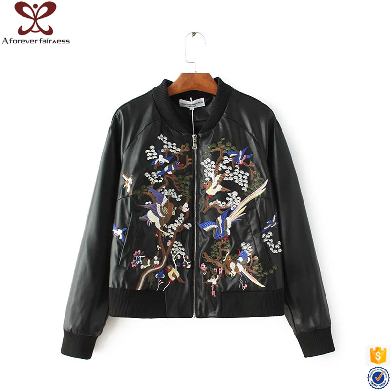 A Forever Fairness Fashion Women New Model Black Leather Embroidered Jacket