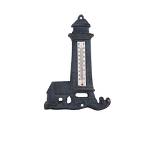 Home decor metal art and handicrafts nautical theme antique lighthouse thermometer