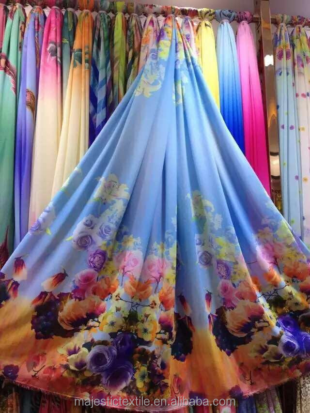 Custom digital printed floral 100% polyester chiffon fabric wholesale