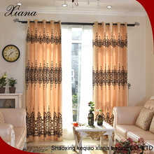 Competitive price golden polyester curtain fabric,flocking curtain fabric,window curtain