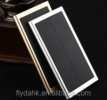 Aluminium Alloy ultra thin solar power bank 20000mah usb solar panel power bank charger for phone power bank.