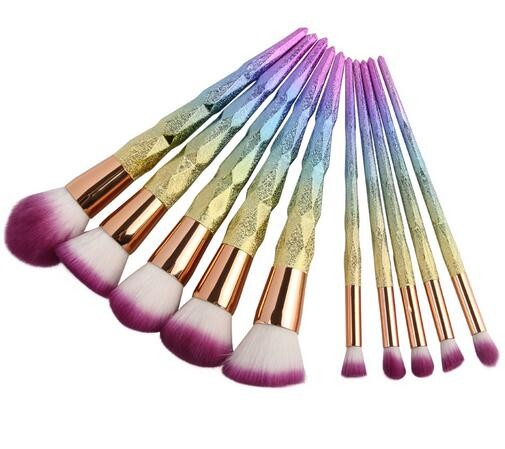alibaba beauty products wholesale distributor 10pcs rainbow makeup brushes