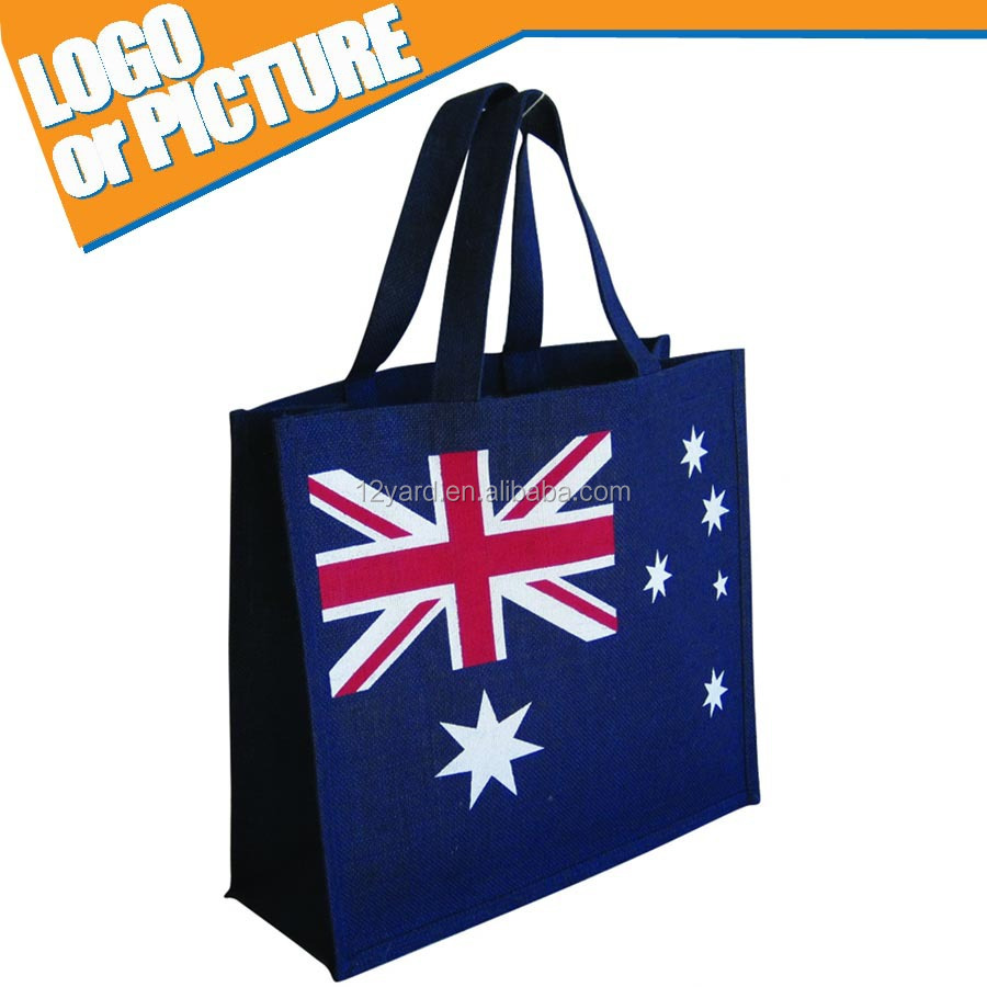 2015 Australian cheap eco-friendly non woven printed flag shopping bag Reusable Grocery Tote Bag