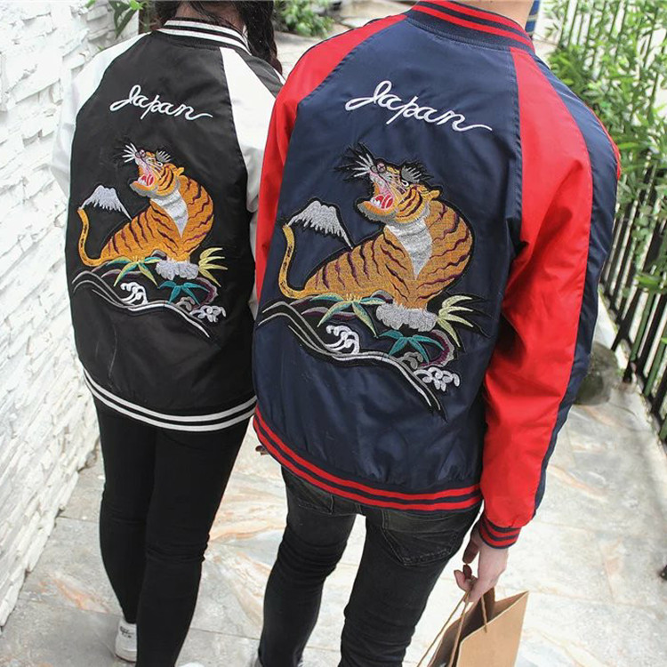 Mens 100% Polyester Satin Bomber Jacket Wholesale Loose Street Embroidery Souvenir Jacket