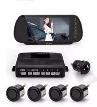 Car Reversing kit- 7 Inch TFT LCD Rearview Mirror Monitor Backup Camera 4 Parking Sensors Alarm