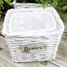 cheap white plastic lined wicker basket plant basket