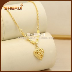 Bridal Heart shaped wedding pure gold necklace