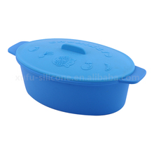 Silicone travel pot bowl Rectangle silicone loaf bake pan,Silicone steamer cooker with lid