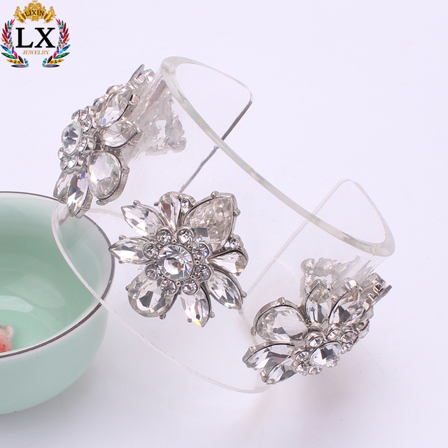 BLX-00428 clear resin bangle plastic bangle bracelet with crystal and rhinstone flower cuff open bangle adjustable