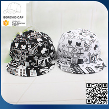 fashion high quality men and women sunshade lovely cartoon graffito prints printing snapback hip-hop hat cap wholesale
