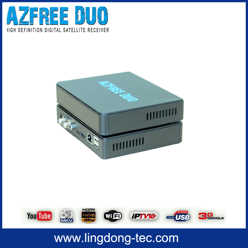 double antenna 4k satellite receiver Azfree DUO with free iks sks iptv hd sex video