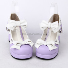 2013 New Fashion Purple Girls Pumps Shoes With Bowknot Princess Leather Rubber-Soled Cosplay Gothic Lolita Shoes LL010