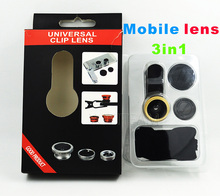 Free shipping universal mobile lens with clip 3 in 1 fish eye wide micro lens for iphone samsung smart phone to take pictures