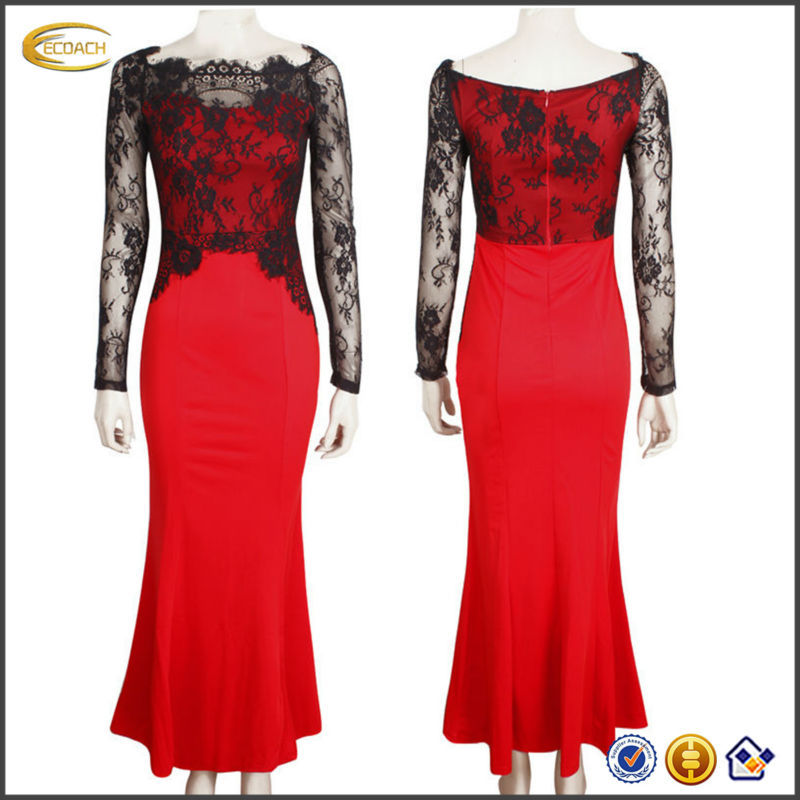 OEM wholesale online shopping Womens Elegant Mermaid Sweep Lace ruffles Dress For party Evening wedding dress