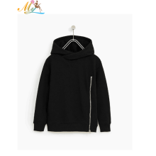 2018 new fashion kids pure black long sleeve zipper boys hoodie jacket