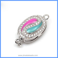 20x10mm Zircon Pave Enameled Solid Sterling Silver Box Clasps Hooks Jewelry Findings Connector For DIY Pearl Jewelry SC-BC220