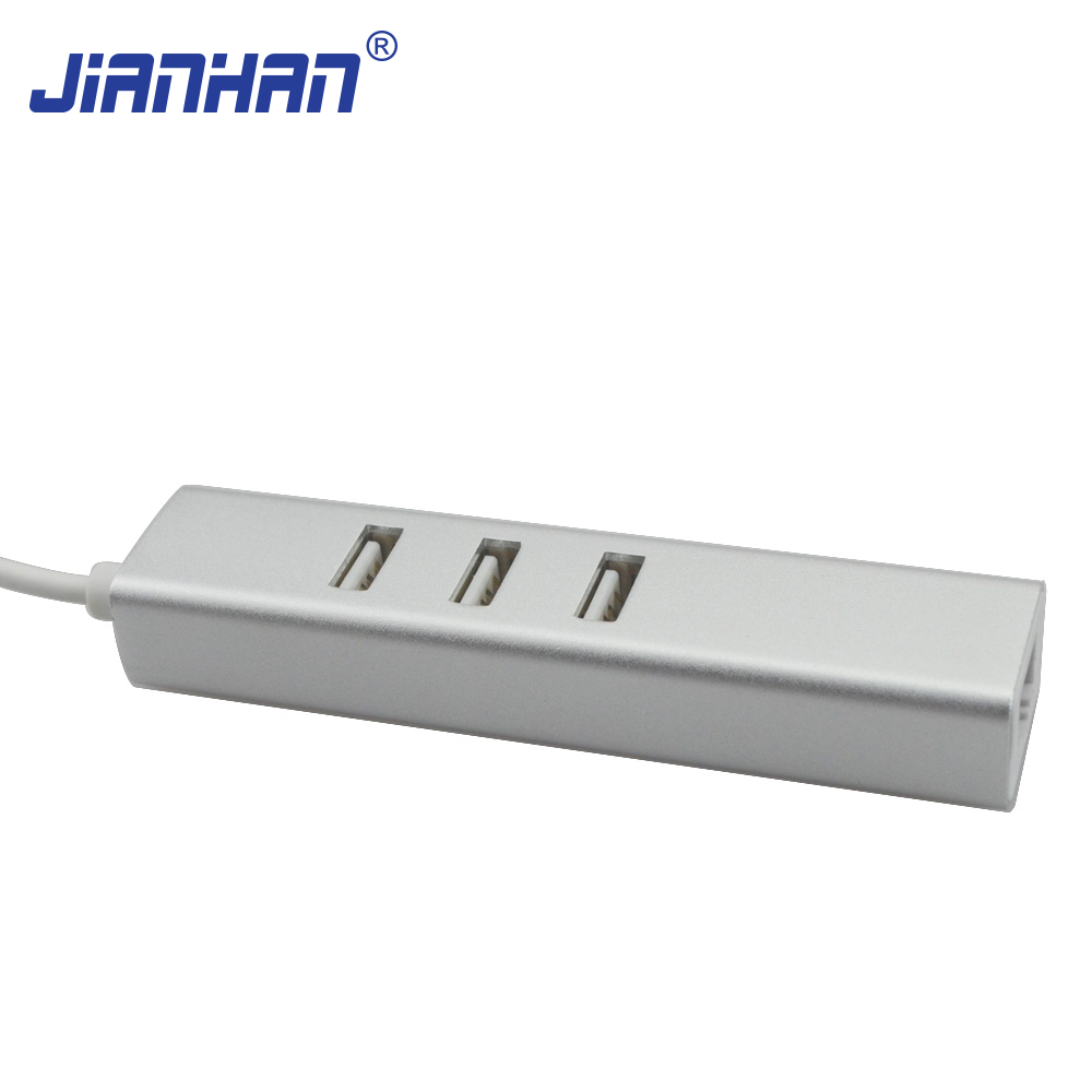 USB 3.1 Type-C (USB C) to 3Ports USB 2.0 HUB with RJ45 Ethernet Network LAN Port Type C Adapter for New MacBook ChromeBook