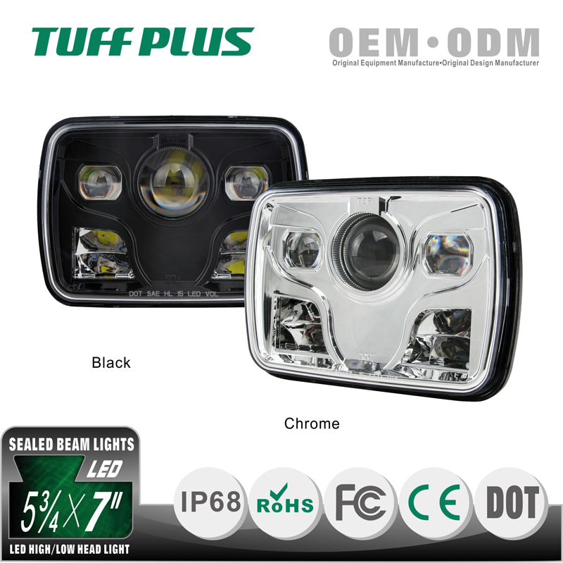 Auto 9-30V Chromed 5 by 7 inch Rectangular Led Headlamp